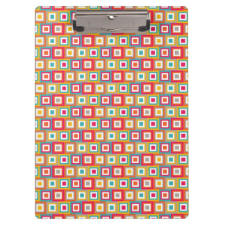 Red, Orange, Yellow, and Teal Retro Squares Clipboard