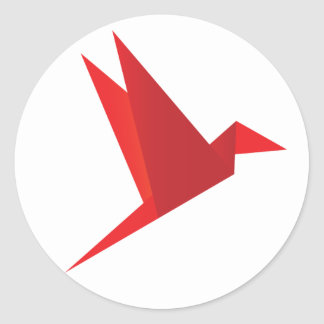 Red Origami Bird Round Sticker