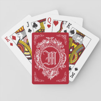 Red Ornate Baroque Monogram Playing Cards