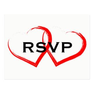 Red Paint Brush Heart RSVP Postcard