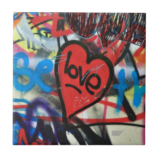 red painted heart love graffiti tiles