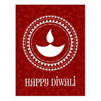 Red Paisley Diwali Postcard
