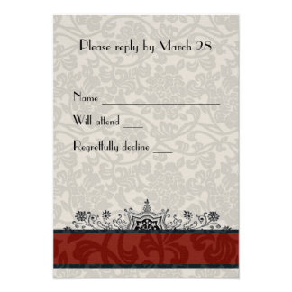 Red Paris Damask Eiffel Tower RSVP Personalized Invitation