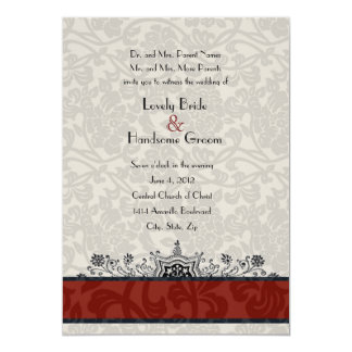 Red Paris Damask Eiffel Tower Wedding Invite