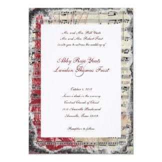 Red Paris Music Wedding Invitations
