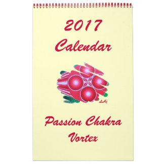 Red Passion Chakra Vortex 2017 Calendar One Page