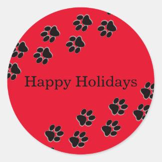 Red Paw Prints - Circle Sticker