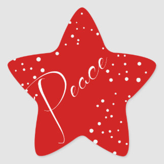 Red Peace Holiday Christmas Star Sticker