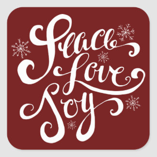 Red Peace Love and Joy Script Holiday Stickers