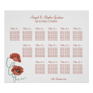 Red Peonies Wedding Seating Chart Poster