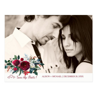 Red peony bouquet winter wedding save date photo postcard