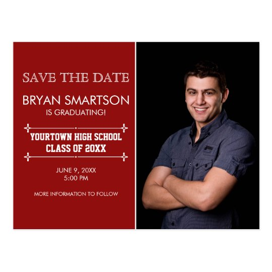 Red Personalised Photo Graduation Save the Date Postcard