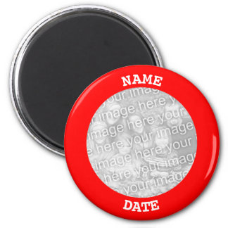 Red Personalised Round Photo Border Magnet