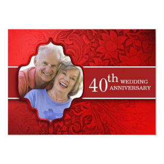 red photo anniversary invitations
