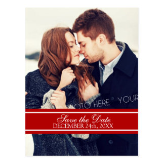 Red Photo Save the Date Winter Wedding Postcards
