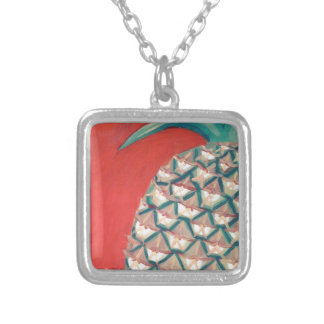 Red Pineapple Square Pendant Necklace