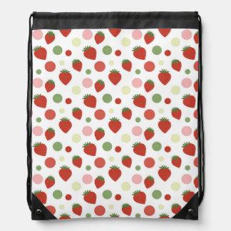 Red Pink and Green Strawberries & Polka Dots Drawstring Bag