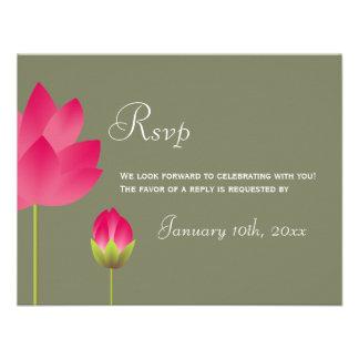Red pink lotus flower green wedding rsvp response invitations