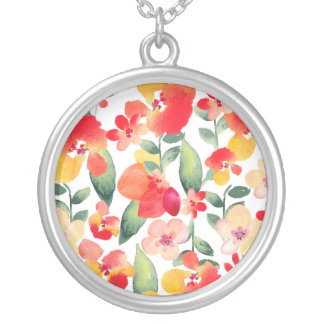 Red & Pink Painted Floral Silver Plated Necklace