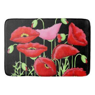 Red Pink Poppies Art Custom Decorative Black Bath Mat