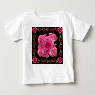 RED &  PINK ROSES BLACK PATTERNS BABY T-Shirt