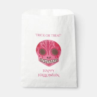 Red & Pink Sugar Skull Happy Halloween Favor Bag