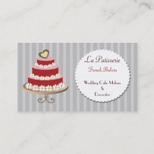 Pink wedding cake business cards zazzle nz red pink wedding cake makers business cards reheart Image collections