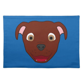 Red Pitbull Face Placemat