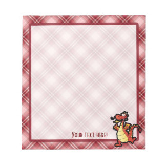 Red Plaid Cartoon Dragon Notepads