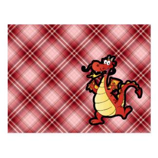 Red Plaid Cartoon Dragon Post Card