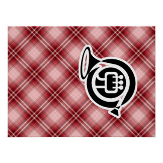 Red Plaid French Horn Poster