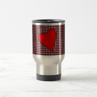 Red Plaid Heart Stainless Steel Travel Mug