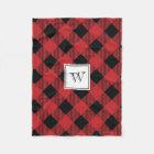 Red Plaid Monogram Holiday Fleece Blanket