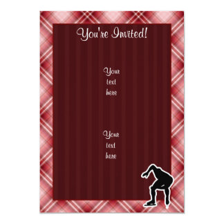 "Red Plaid Speed Skater 5"" X 7"" Invitation Card"