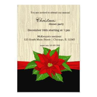 Red Poinsettia 13 Cm X 18 Cm Invitation Card