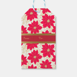 Red Poinsettia with gold swirls Season's Greetings Gift Tags