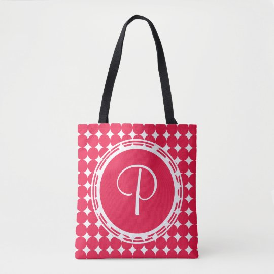 Red Polka Dot Monogram Tote Bag