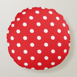 Red Polka Dot Round Cushion
