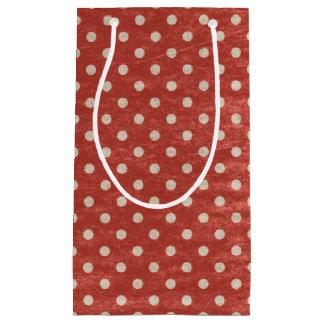 Red polka dot Rustic gift bag