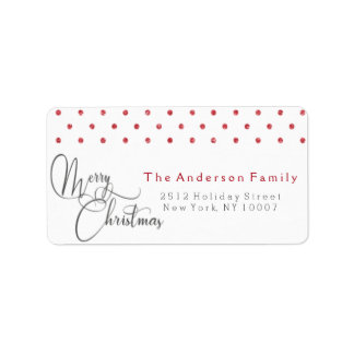 Red polka dots address label