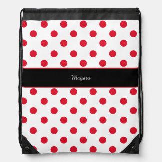 red polka dots & name drawstring bag