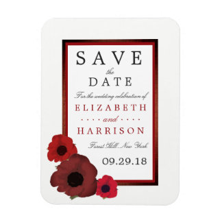 Red Poppies and Burlap Wedding Save The Date Rectangular Photo Magnet