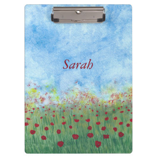 Red poppies in the field personalized clipboards