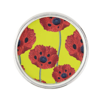 Red Poppies On Yellow Lapel Pin
