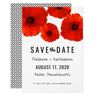 Red Poppies Save the Date Announcement