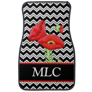 Red Poppy Black White Zizzag Chevron Monogram Car Mat
