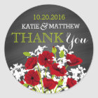 Red Poppy Chalkboard Modern Thank You Label