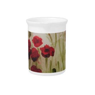 Red poppy field drink pitchers