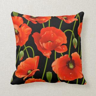 Red Poppy Flowers Cushion