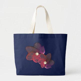 Red / Purple Gossamer Flower Ladies Tote Jumbo Tote Bag